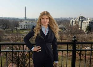 Fergie in front of the White House