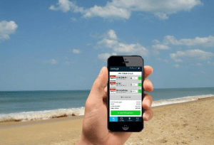Person Using Cell Phone At The Beach