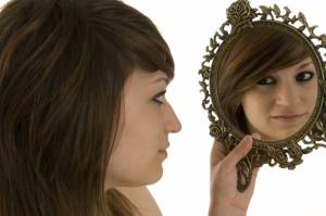 Girl Looking in Mirror, woman looking in mirror