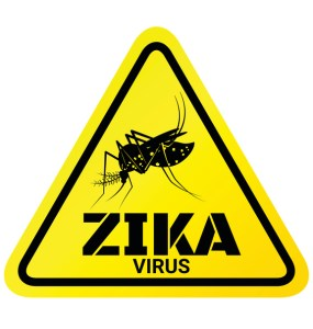 Warning sign of Zika virus with Mosquito for protection.