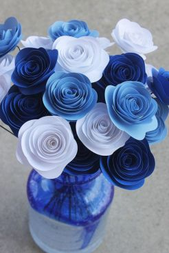 Blue and white paper flowers