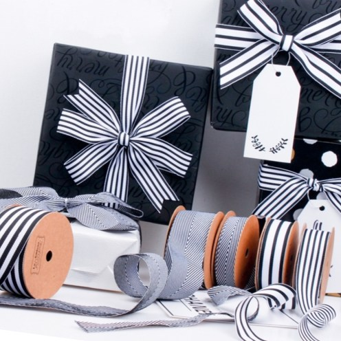 Striped Grsgrain with black and white ribbons