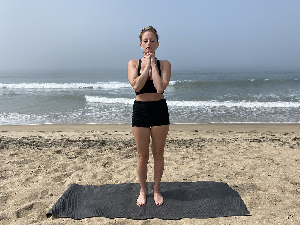 Hot Yoga Pranayama Breath - yoga pose girl sunny day yoga on the beach