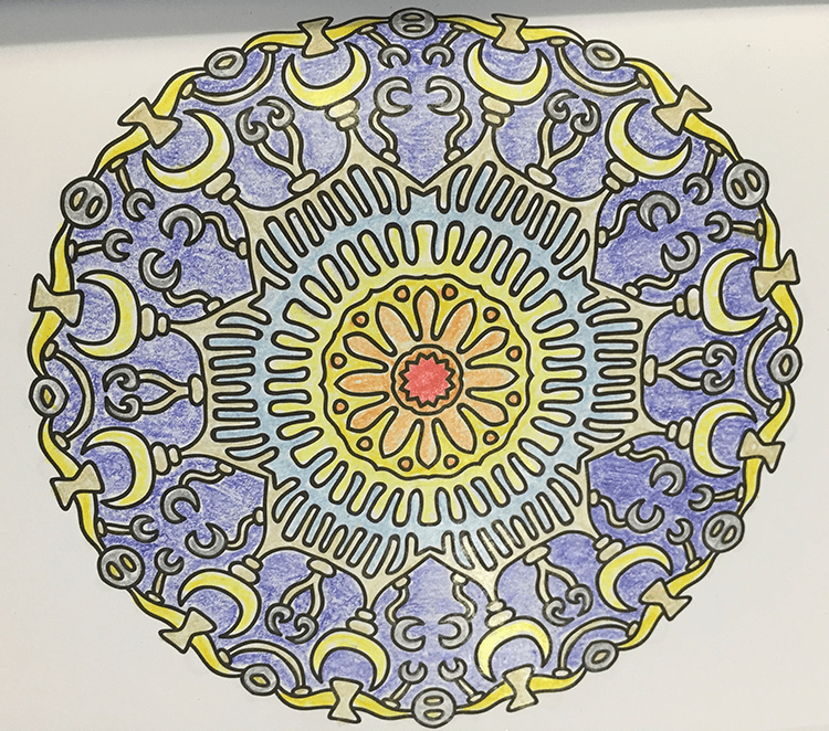 blue and yellow colorful celestial mandala