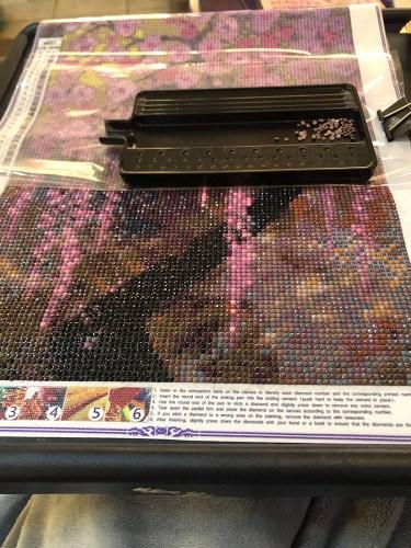 incomplete in progress cherry blossom diamond painting