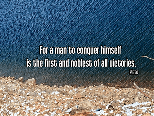 cool perspective bright blue water on rocky shoreline - tapas discipline motivation self-discipline Quote: For a man to conquer himself is the first and noblest of all victories. - Plato