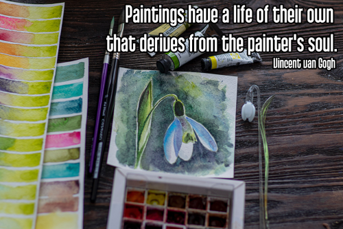 watercolor painting of white flower with flower alongside art - mindful mindfulness painting art watercolor Quote: Paintings have a life of their own that derives from the painter's soul. - Vincent van Gogh original work - https://unsplash.com/photos/cNs36HTg2R0