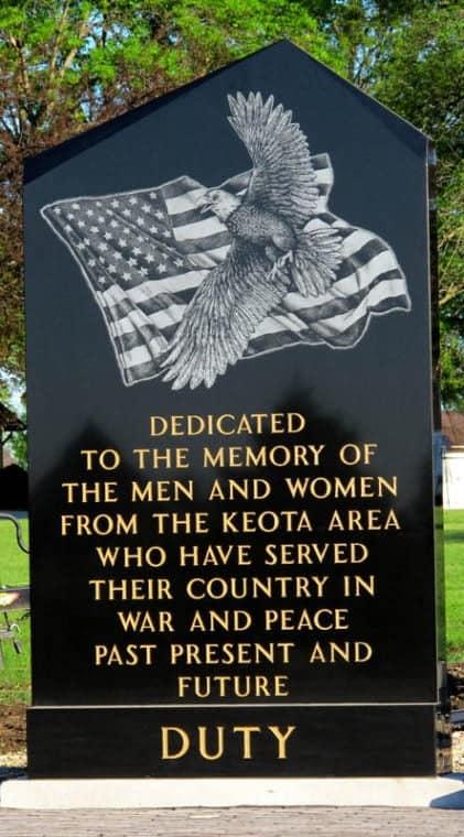 Veteran's memorial in Keota, Iowa. Photo by Melinda Eakins