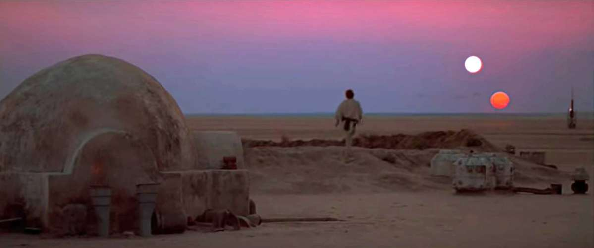Scene from Star Wars. A rural sunset on Tatooine.