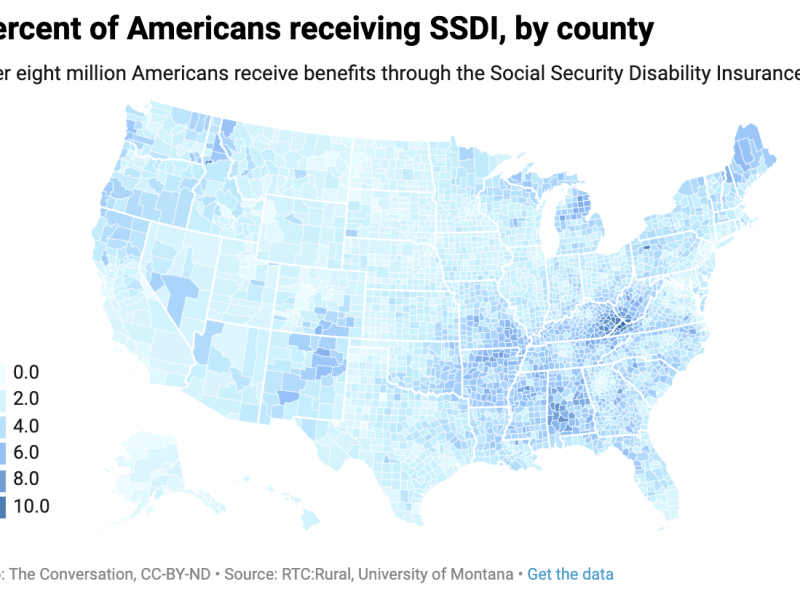 Percent of Americans receiving SSDI, by county
