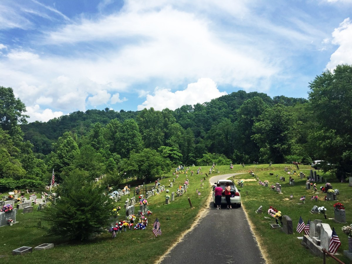 Photo of a mountain cemetery in Perry County, Kentucky.