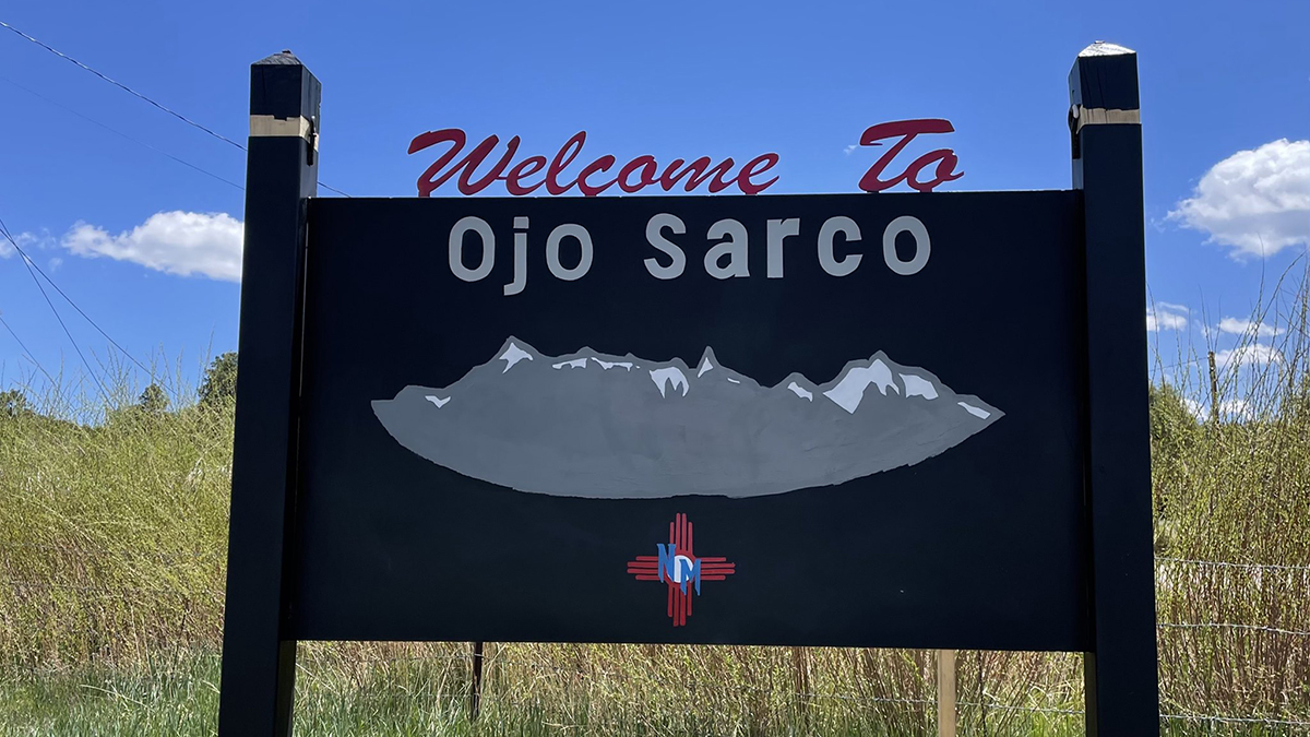 Photo of an outdoor sign that reads Welcome to Ojo Sarco