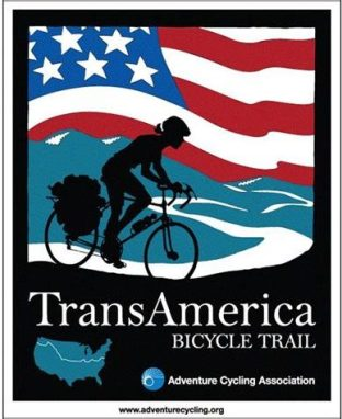 Poster for TransAmerica bike trail with stylized illustration of biker in front of rolling hills and an American flag