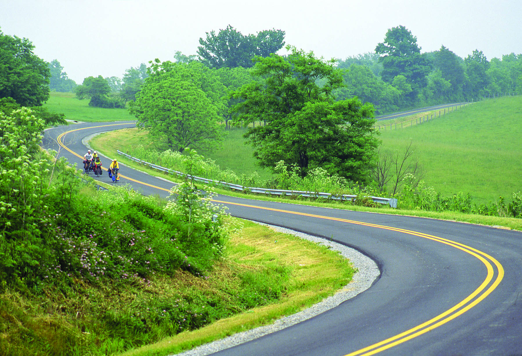 Four bikers make their way down a winding, downhill country road.