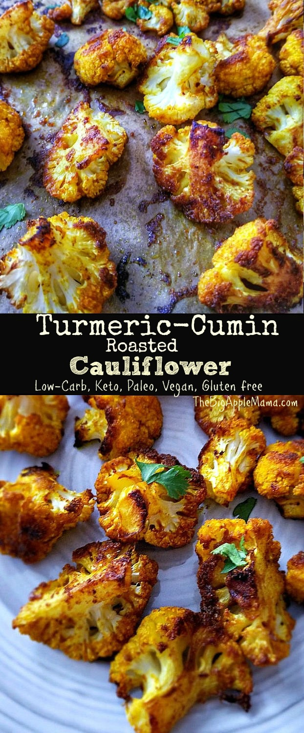 Turmeric-Cumin Roasted Cauliflower - Low Carb, Keto, Paleo, Vegan, Gluten free