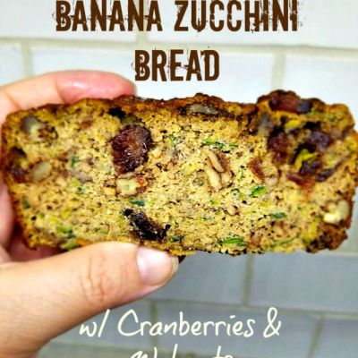 anana Zucchini Bread with cranberries and walnuts. Low Carb, Keto friendly
