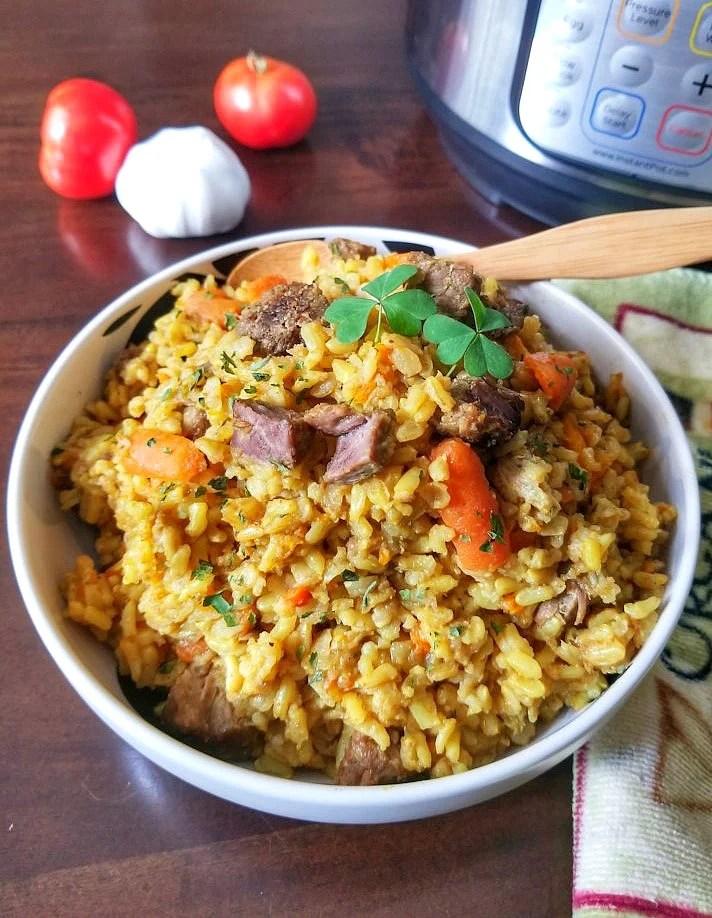 Instant pot Plov, Beef rice pilaf