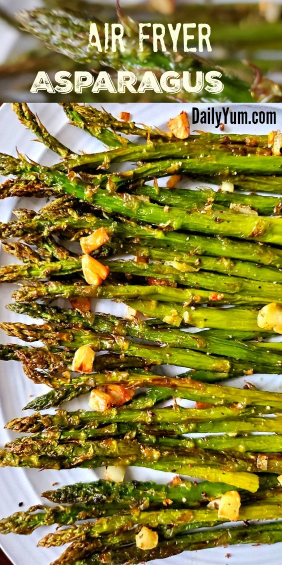 Air Fryer Asparagus with garlic and seasoning