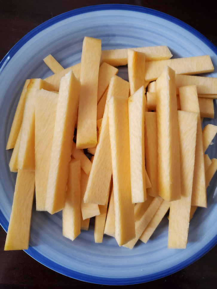 How to cut raw pumpkin into french fry slices