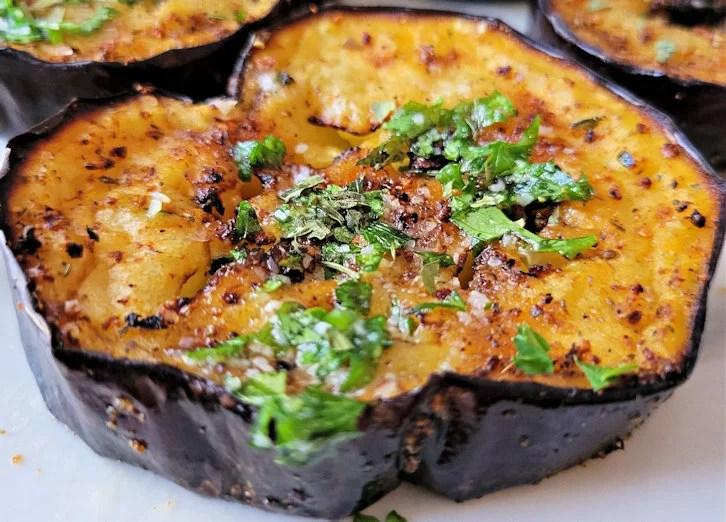 Air fryer eggplant with garlic parmesan