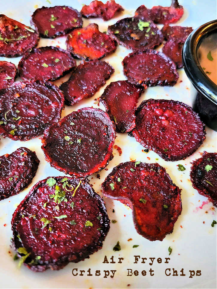 Homemade air fryer crispy beet chips