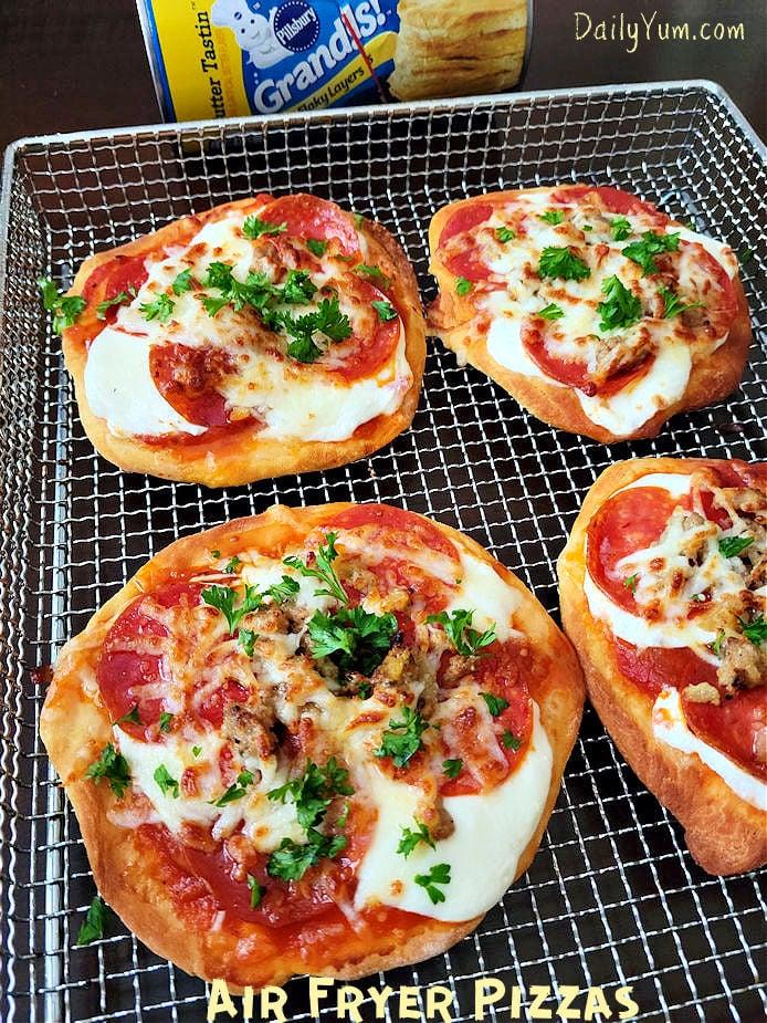 Air Fryer Mini Pizzas (Using Pillsbury biscuits)