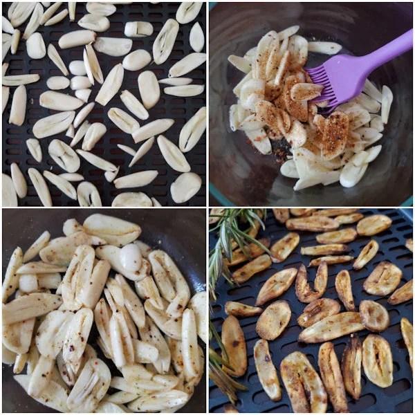 Coat garlic sliced in oil and seasoning