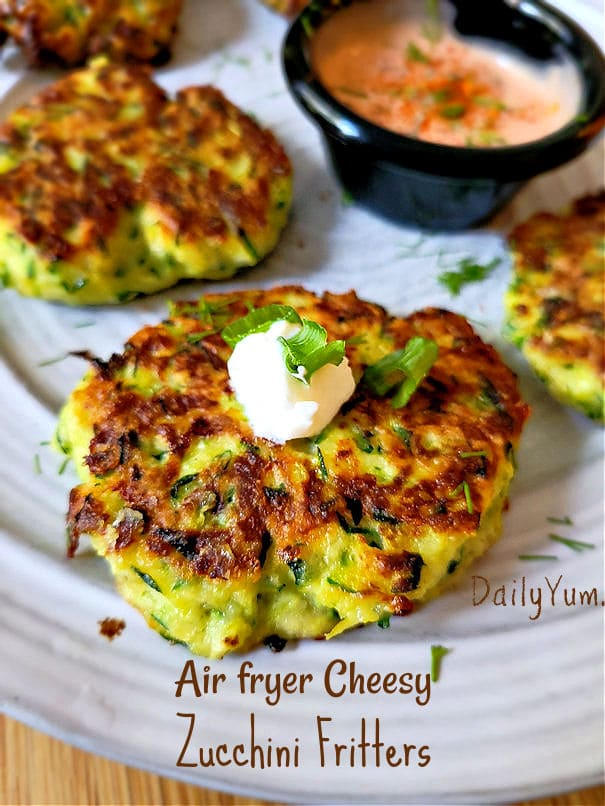 Air fryer cheesy zucchini fritters