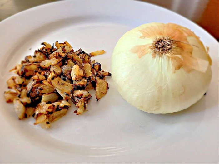 Do onions shrink during cooking