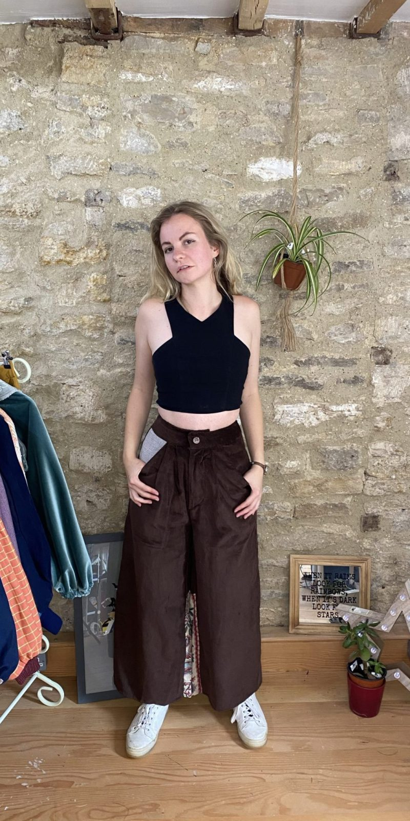 Wide Leg Trousers Deadstock Vintage Material