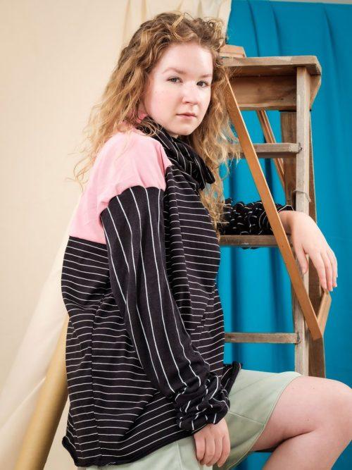 Black Stipe with Pink Shoulder Panel zero waste fashion