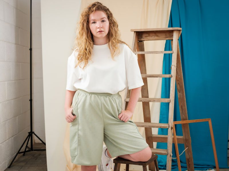 Green Boxing Shorts ethically made,circular fashion brand