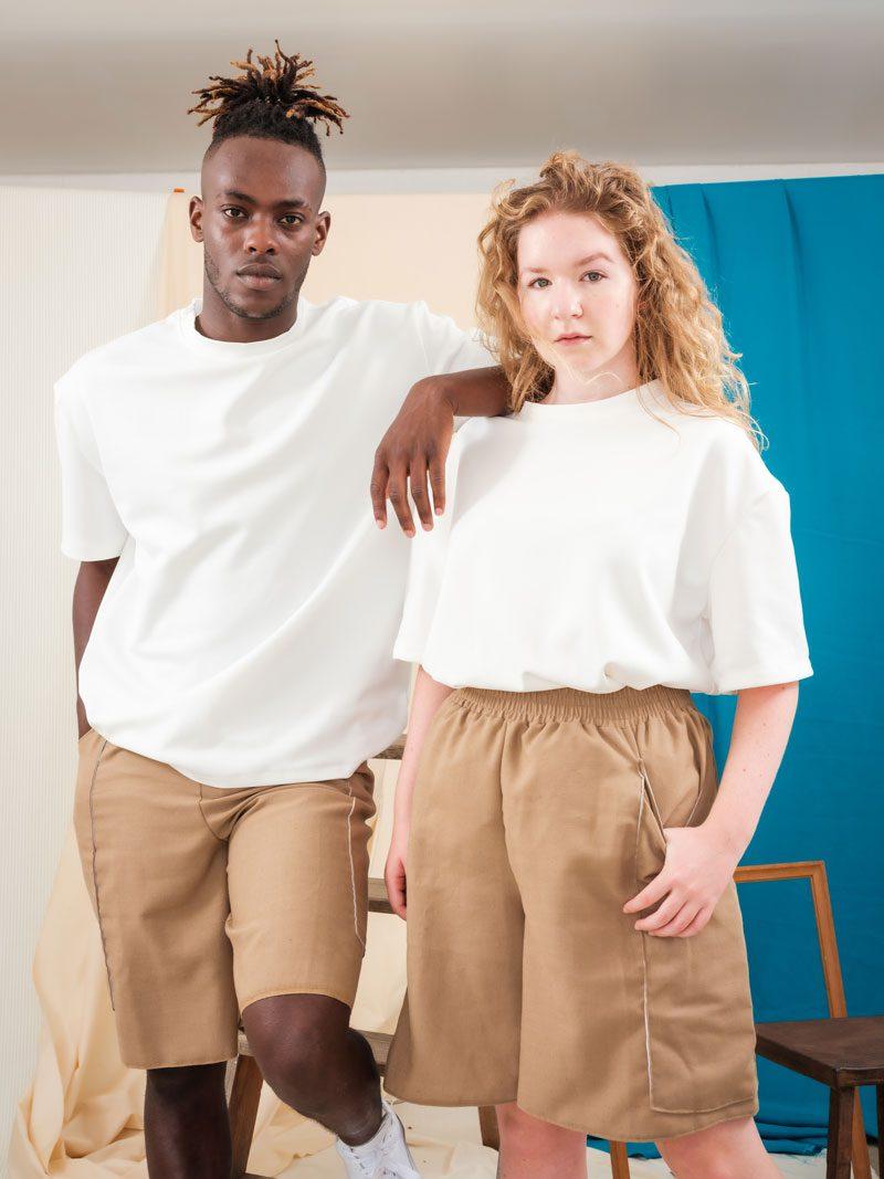 Beige Shorts oversized Boxing Shorts Unisex Gender Fluid Fashion