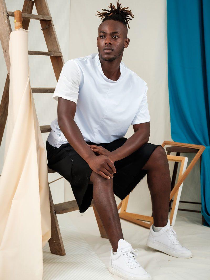 Oversized ethical edgy fashion unisex white mesh sportswear
