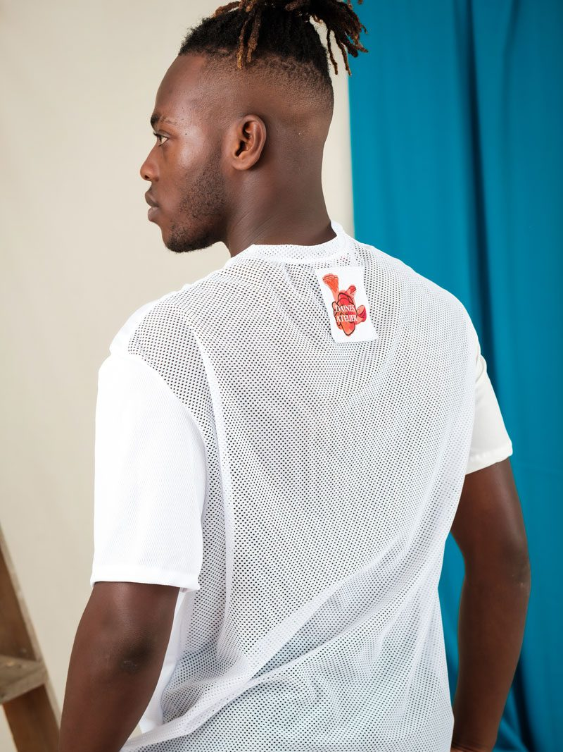 White Mesh remnant deadstock materials, oversized T-Shirt unisex streetwear