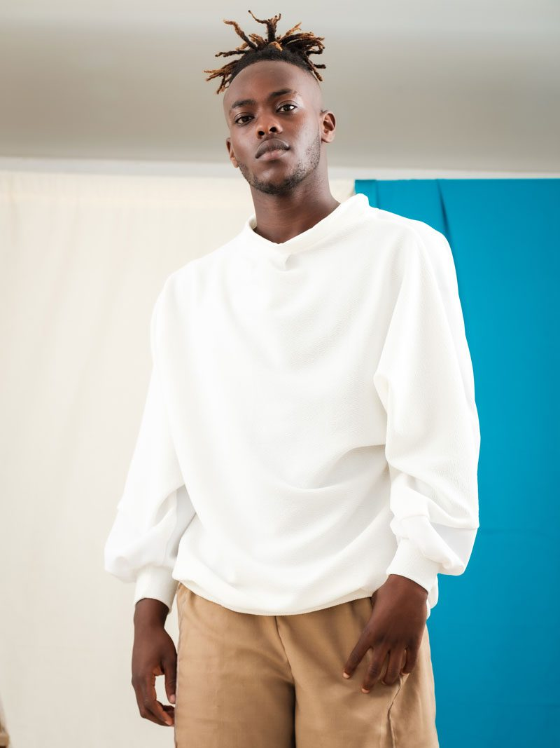 White batwing jumper over sized jumper upcycled jersey streetwear urban style ethical