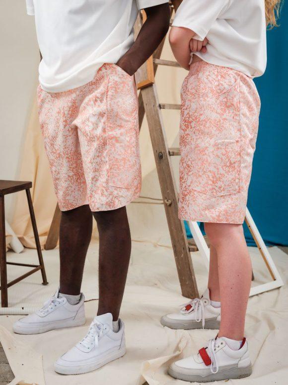 Pink Camo unisex streetwear Boxing Shorts.