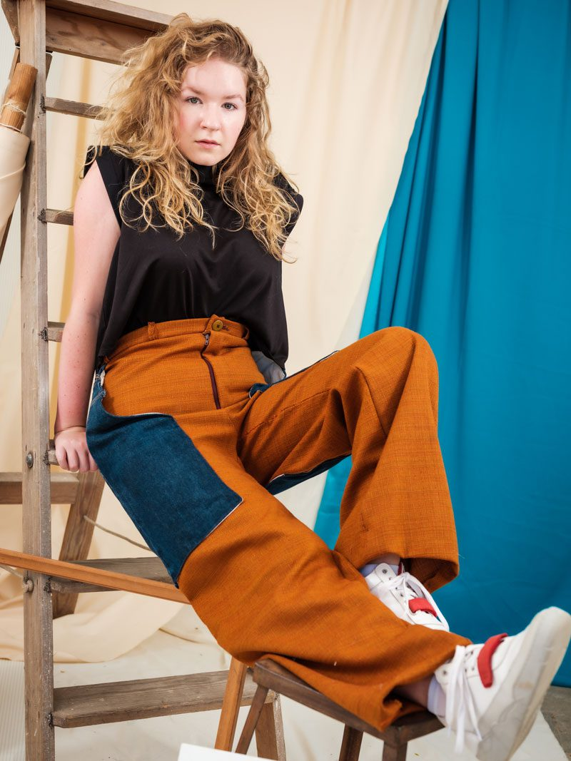 High Waisted Trouser Chaps with upycled denim pocket ethically made fashion