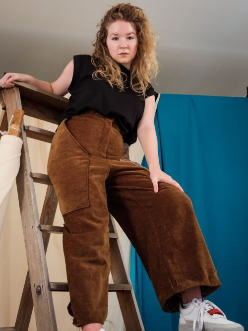 Brown Corduroy remnant fabric vintage high waisted edgy streetwear fashion