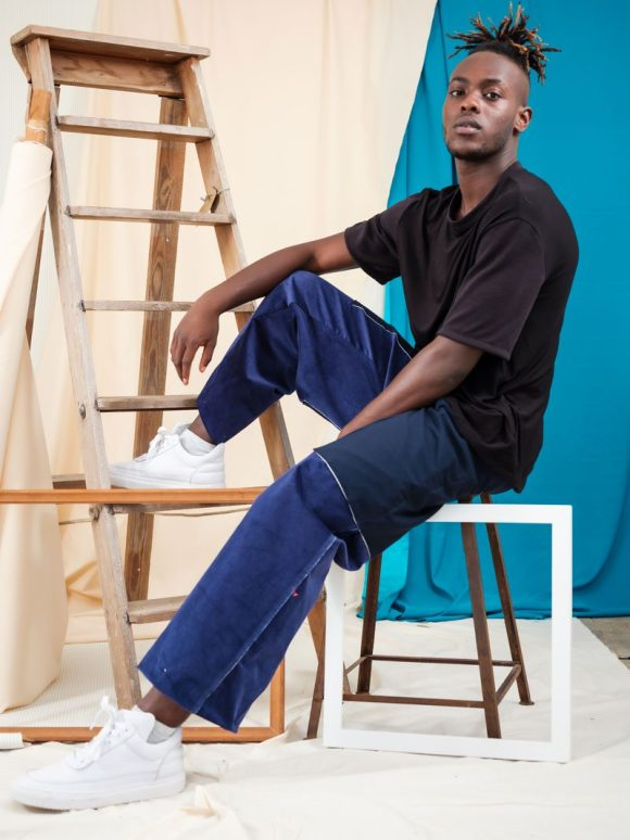 Mid-Rise Blue Corduroy Ethical Streetwear deadstock materials