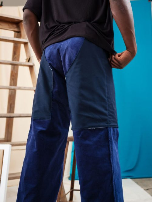 Mid Rise Deadstock Corduroy Trousers with chap pockets edgy sustainable ethical
