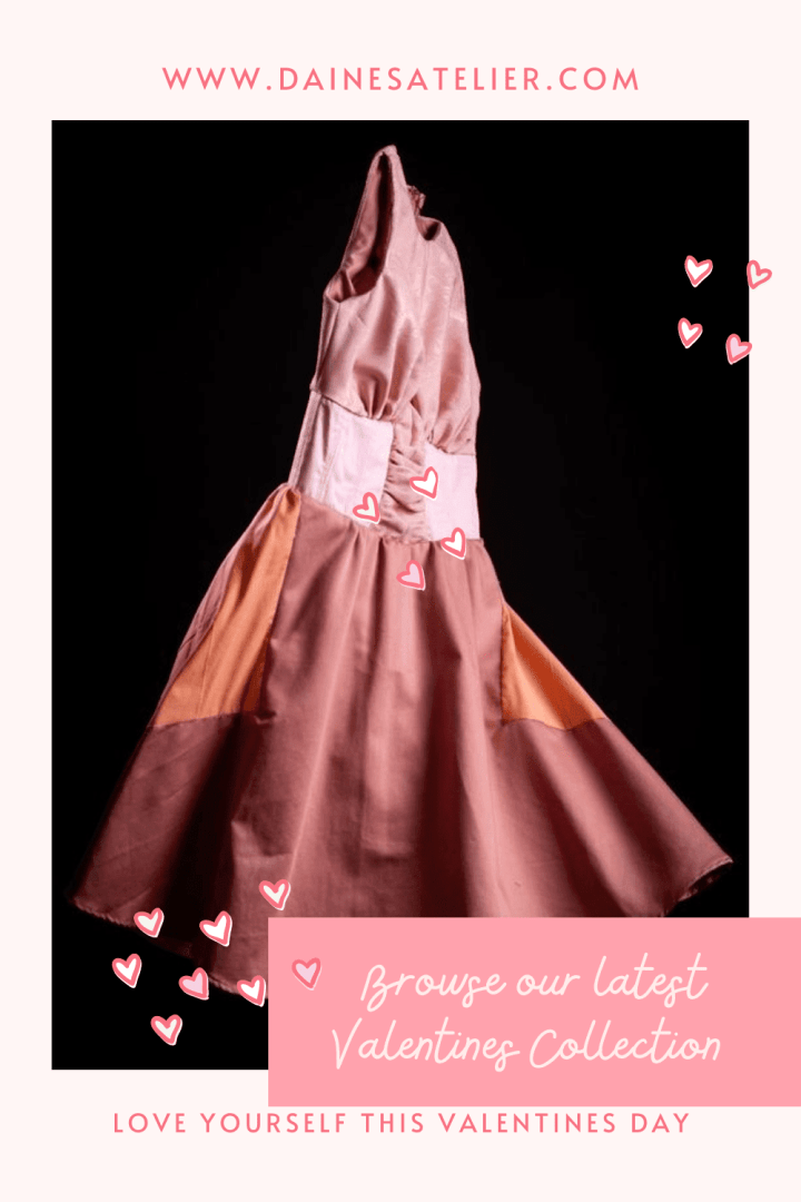 Image of pink floating dress for the Valentines collection featuring half corset and circle skirt.