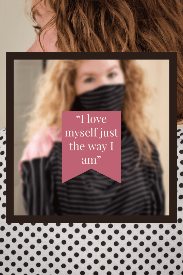 "Image of girl with curly hair wearing polka dot tee overlayed by black box overlayed by blurred image of girl with curly hair wearing Quarantee (a facemask alternative) with a pink panel overlayed by a pink box with body positivity quote: ""i love myself just the way I am"""
