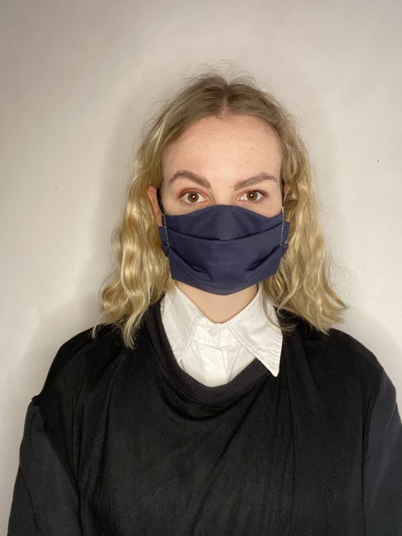 Handmade breathable facemask with filter pocket and adjustable elastic made from vintage remnant materials In Navy