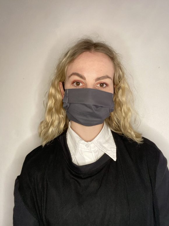 Handmade breathable facemask with filter pocket and adjustable elastic made from vintage remnant materials In Grey