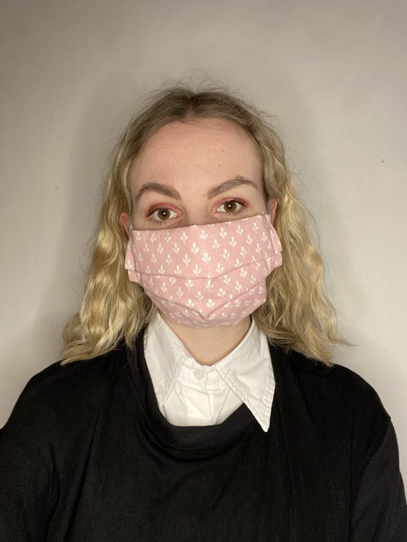 Handmade breathable facemask with filter pocket and adjustable elastic made from vintage remnant materials In Laura Ashley Pink Jacquard
