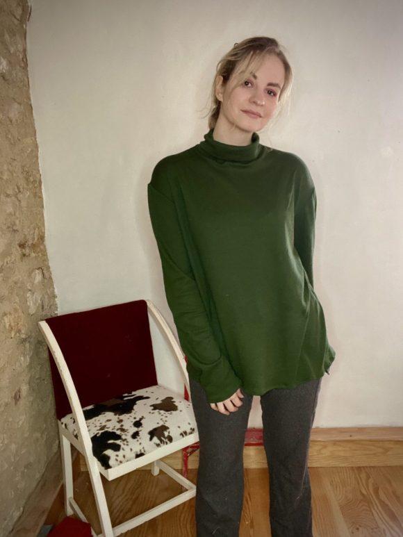 Green sweatshirt oversized turtleneck made dead stock vintage fabric.