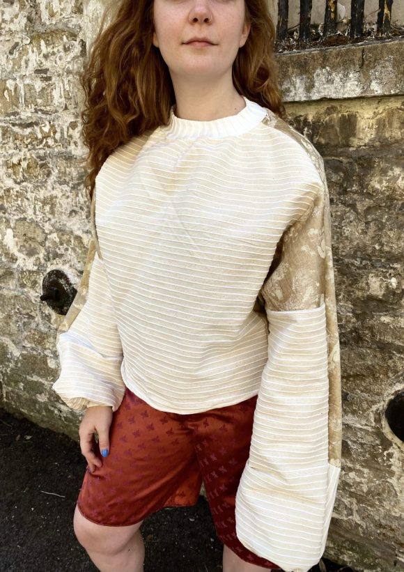 Gold and Beige Cropped Batwing jumper from upcycled materials and vintage remnants. One of a kind.