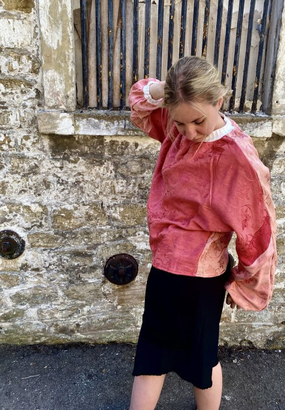 Pink Batwing Jumper made from upcycled vintage materials. Eco streetwear.