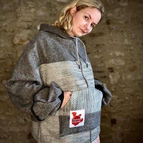 Grey Batwing Hoodie in Wool.
